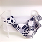 Dolls Quilt & Pillow for cradle or dolls bed - black and white monochrome love