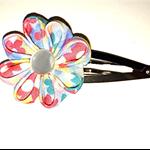 Origami Fabric Flower Clip, Blue, mini