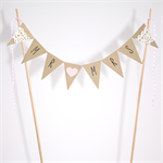 Wedding Cake Topper - Mr and Mrs Bunting Flags Kraft and Lace