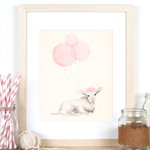 Little Lamb A4 Art Print, Shabby Chic Pink