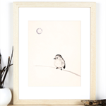 Bird and the Moon Art Print, Ink illustration of Bird, Neutral Black colours