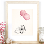 Bunny and Rose Pink Balloons - A4 Art Print