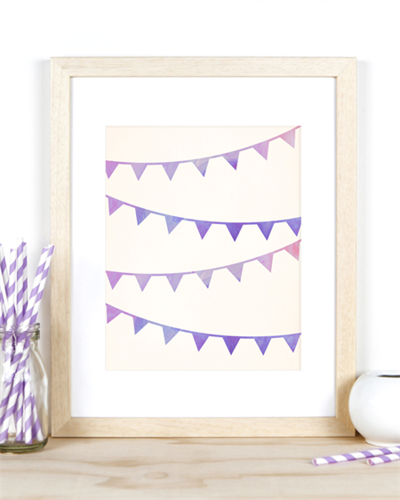 A4 Bunting Flags Print for Kids Room, Baby Nursery or the Home