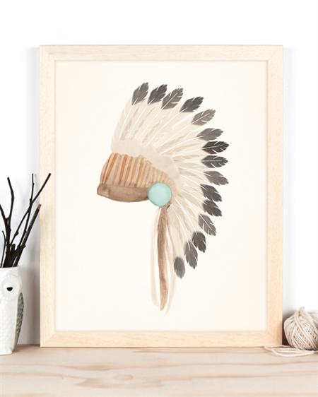 Warbonnet Tribal Art Print 11x14 or A3