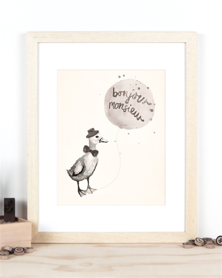 A4 Print for Baby Boy Nursery, Bonjour Monsieur French themed print