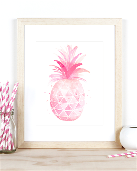 Pineapple Watercolour Art Print in A4 Size