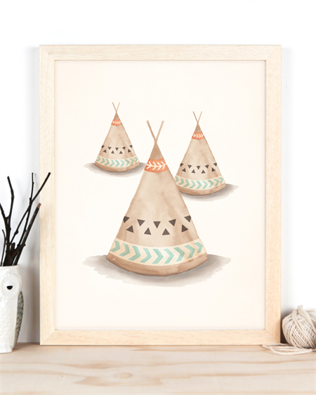 Teepee Art Print 11x14 or A3