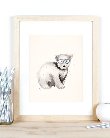 Little Polar Bear A4 Art Print