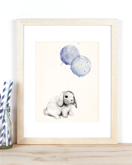 Bunny with Blue Balloons A4 Art Print