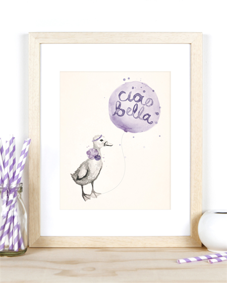 'Ciao Bella' (hello beautiful) French Duck A4 Print for Baby Girl Nursery