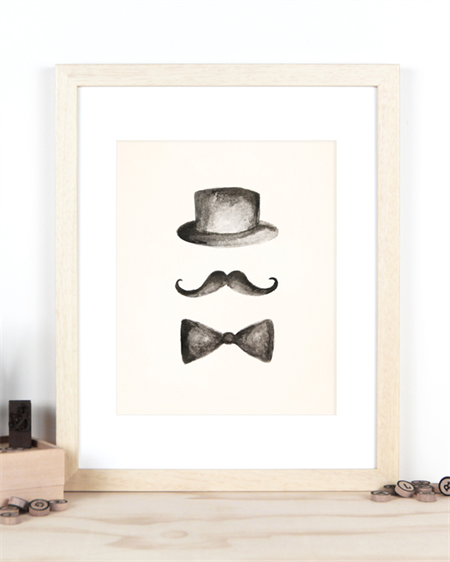 Moustache, Hat and Bowtie Ink Illustration Print A4