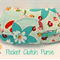 Small Purse, Pocket Clutch Purse – Small Clutches: White, teal and flowers
