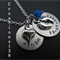 New mom gift - personalised baby name and date necklace- baby feet charm new mom