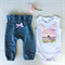 Baby Girl Easter Bunny Bodysuit and Denim High waisted Harems