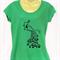 Green Peacock TShirt - screen print - ladies sizes 8 to 18 avail, retro, kitsch