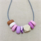 Peony - Polymer clay & wooden bead necklace