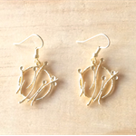 SMALL MATTE GOLD DANDELION EARRINGS - FREE SHIPPING WORLDWIDE