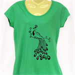 Green Peacock TShirt - screen print - ladies sizes 8 to 18 avail, retro, kitsch