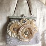 Romantic Ivory And Cream    Upcycled  Vintage Bag Purse Wedding