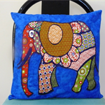 Cushion Cover - Elephant sparkle bright on black 40cm 16 inches