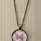 Happiness is like a butterfly, antique bronze cabochon necklace, 18 inch chain