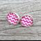 Glass dome stud earrings - Pink chevron
