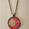 Yellow & Raspberry floral,  antique bronze cabochon necklace with 18 inch chain