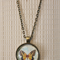 Antique butterfly, antique bronze cabochon necklace with 18 inch chain