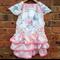 Pretty in Pink Vintage Linen Ruffle Dress
