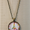 Floral peace sign, antique bronze cabochon necklace with chain