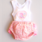 Girl Baby Toddler Ruffle Bum Diaper Nappy Cover and Singlet set Pink Bear Heart
