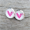 Glass dome stud earring - pink heart