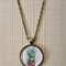 Retro Pineapple, antique bronze cabochon necklace with 18 inch chain