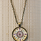 Boho Feather, antique bronze cabochon necklace with 18 inch chain