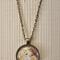 Unicorn, antique bronze cabochon necklace with 18 inch chain