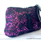 Oversized clutch purse:  black guipure lace over pink lycra