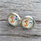 Glass dome stud earrings - Feathers - neutral