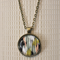 Distressed striped,  antique bronze cabochon necklace with 18 inch chain