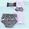 'Leopard Cat' Nappy Diaper Cover Tank Top Stretch Headband Baby Girl Set