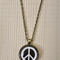 Peace Symbol,  antique bronze cabochon necklace with 18 inch chain