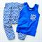 Size 1 Blue Chevron Pants and Singlet Set