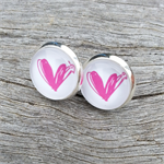 Glass dome stud earrings - Pink heart
