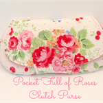 Pocket Clutch Purse | wallet| coin purse | Small Clutches: White with pink roses