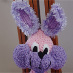 Floss - hand crocheted bunny rabbit in purple & pink ; Easter, safe, washable