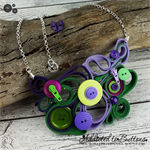Purple and Green - Peacock Zipper Quilling - Buttons and Zips - Button Necklace