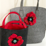 Pretty large Grey Felt Poppy Tote Bag