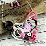 Pink Black and White Zipper Quilling - Buttons and Zips - Button Necklace