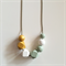 Gold, White and Olive Wooden Geometric Necklace
