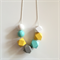 Mint, Yellow, White & Grey Wooden Geometric Necklace