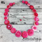 Hot Pink Buttons - Button Necklace - Button Earrings - Set - Jewellery